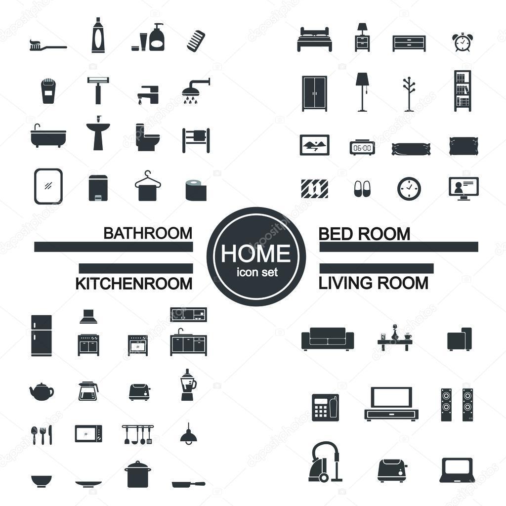 Living room bedroom kitchen bathroom icon set stock - Living room bedroom bathroom kitchen ...
