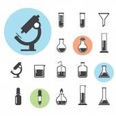Set of laboratory equipment icon — Stock Vector