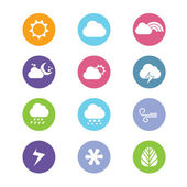 Flat design style weather icons — Stock Vector