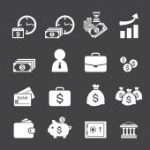 Money and finance icon set — Stock Vector