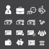 Money and finance icon set — Stock Vector