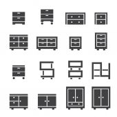 Cabinet icon set — Stock Vector