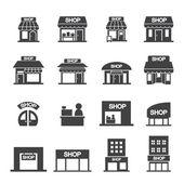 Shop building icon set — Vettoriale Stock