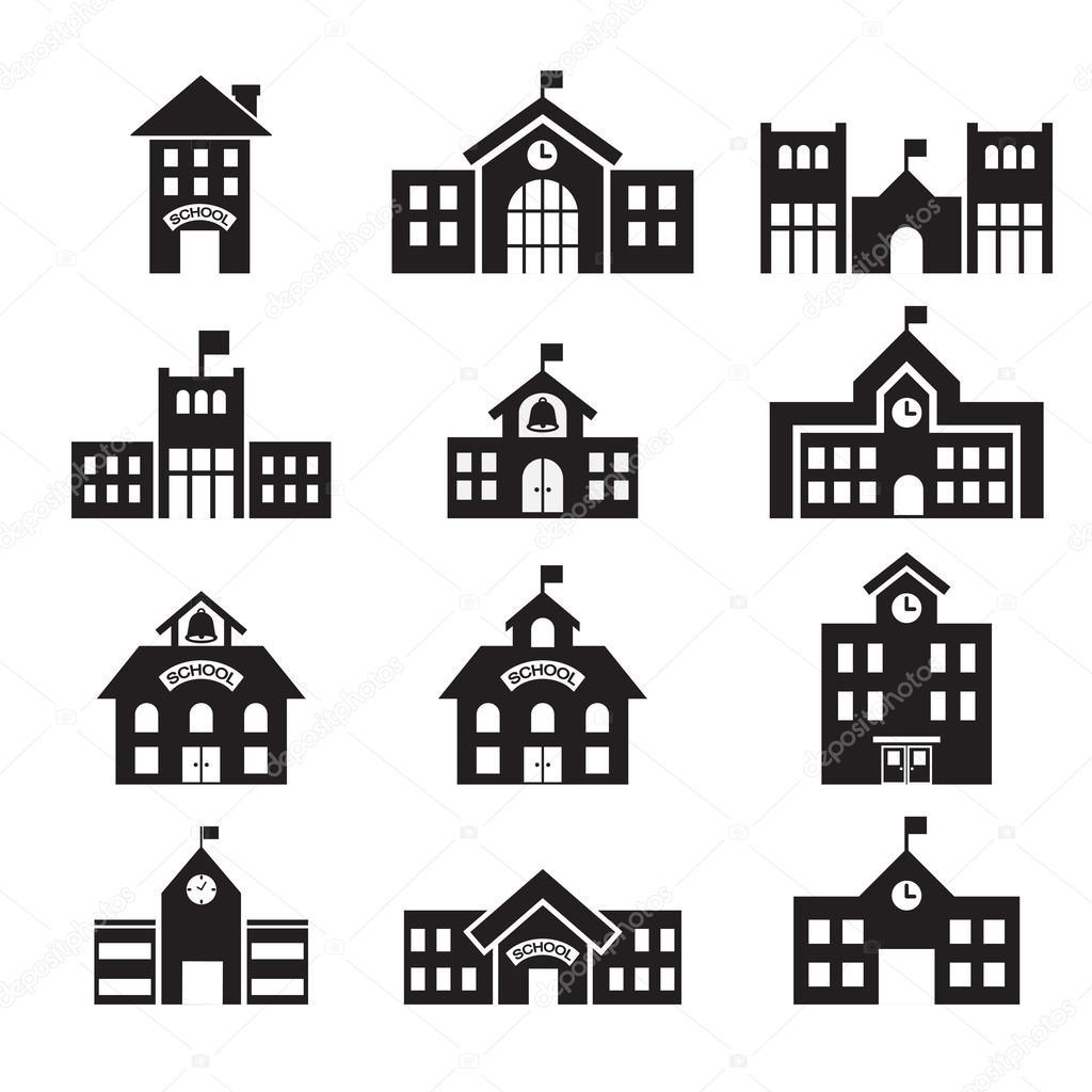 学校建筑图标 — 矢量图片作者
