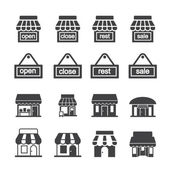 Shop building icon set — Stock Vector