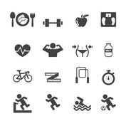 Fitness and Health icons set — Stock Vector