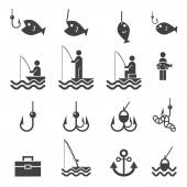 Iconos de pesca — Vector de stock