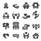 Charity Silhouette icons — Stock Vector