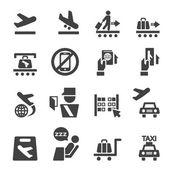 Conjunto de ícones de aeroporto — Vetor de Stock