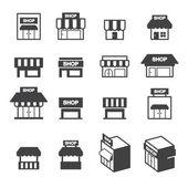 Shop building icon set — Stock Vector