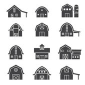 Farm building icon set — Stock Vector