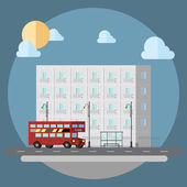 Flat design of cityscape street  — Stock Vector