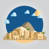 Flat design desert village illustration  — Stock Vector