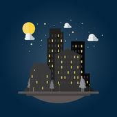 Flat design of cityscape at night — Vecteur