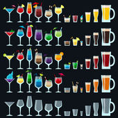 Set of colorful alcohol drinks — Stock Vector