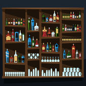 Alcohol shelf background full of bottles — Stock Vector