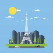 Flat design of Eiffel tower — Stock Vector