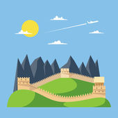 Flat design great wall of China — Stock Vector