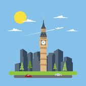 Flat design of Big Ben  — Stock Vector