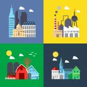 Flat design of cityscape pack — Stock Vector