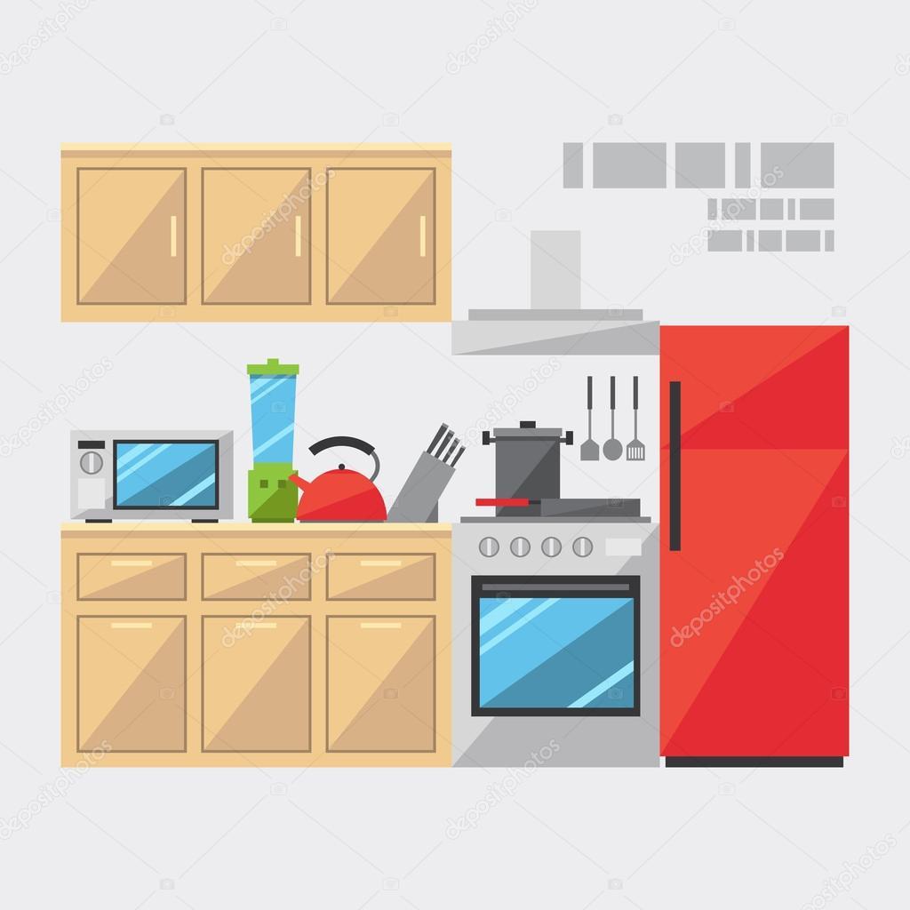 Flat Design Of Kitchen Interior Stock Vector Narak0rn 61538653