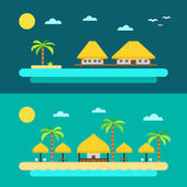Flat design of summer paradise beach — Stock Vector
