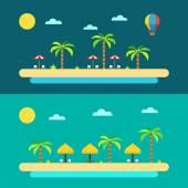 Flat design of summer paradise beach — Stock Vector