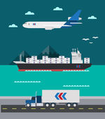 Flat design of cargo transportation sea air land — Vector de stock