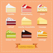 Flat design of cake menu — Stock Vector