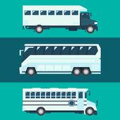 Flat design of passenger bus set — Stockvector