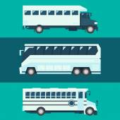 Flat design of passenger bus set — Stock Vector