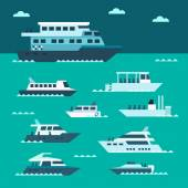 Flat design of boat set  — Stock Vector