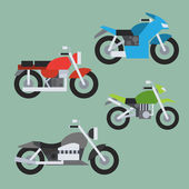 Flat design of motorcycle set — Vecteur