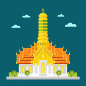 Fabulous temple of Thailand flat design  — Stock Vector
