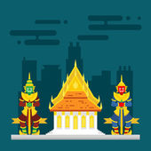 Thailand temple with two giants guarding — Stock Vector