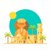 Flat design of Sphinx Giza with village — Stock Vector