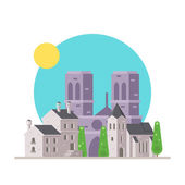 Flat design of Notre Dame France with village — Stock Vector