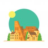 Flat design of Colloseum Italy with village — Vector de stock