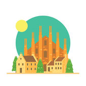 Flat design of Duomo di Milano Italy with village — Stock Vector