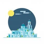 Flat design of Santorini Greece village — Stock Vector
