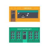 Shop front facade flat design — Vetor de Stock