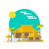 Flat design of beach bar and restaurant — Stock Vector