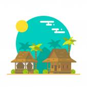 Flat design of beach bungalows — Stock Vector