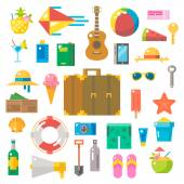 Flat design of summer beach items set — Stock Vector