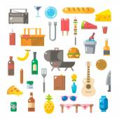 Flat design of picnic items set — Stock Vector