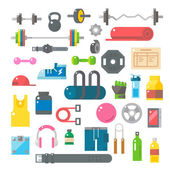 Flat design of gym items set — Stock Vector