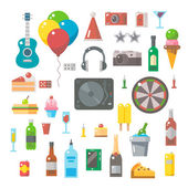 Flat design of party items set — Stock Vector