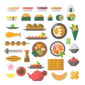 Flat design of sushi dishes set — Vector de stock