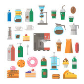 Flat design of coffee shop items set — Stock Vector