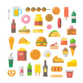 Flat design of junk food set  — Vector de stock